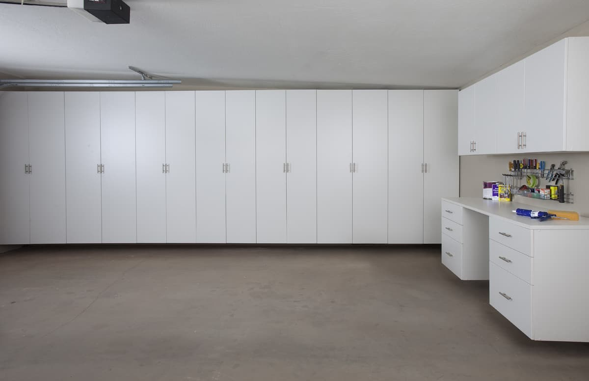 Make the most of vertical space in your garage get for Garage cabinets