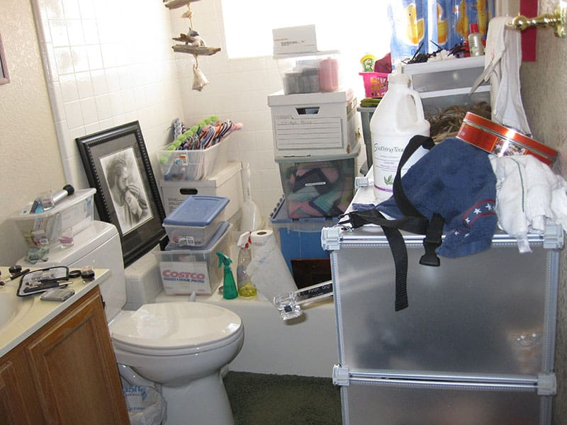 Unorganized Guest Bathroom - Before