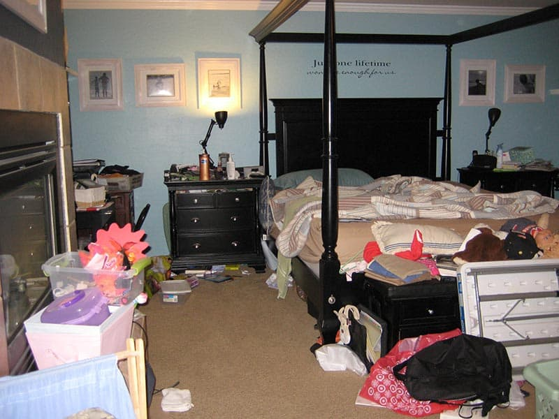 Unorganized Master Bedroom - Before