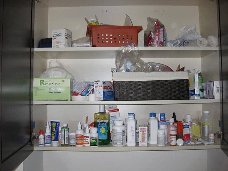 Unorganized Medicine Cabinet - Before