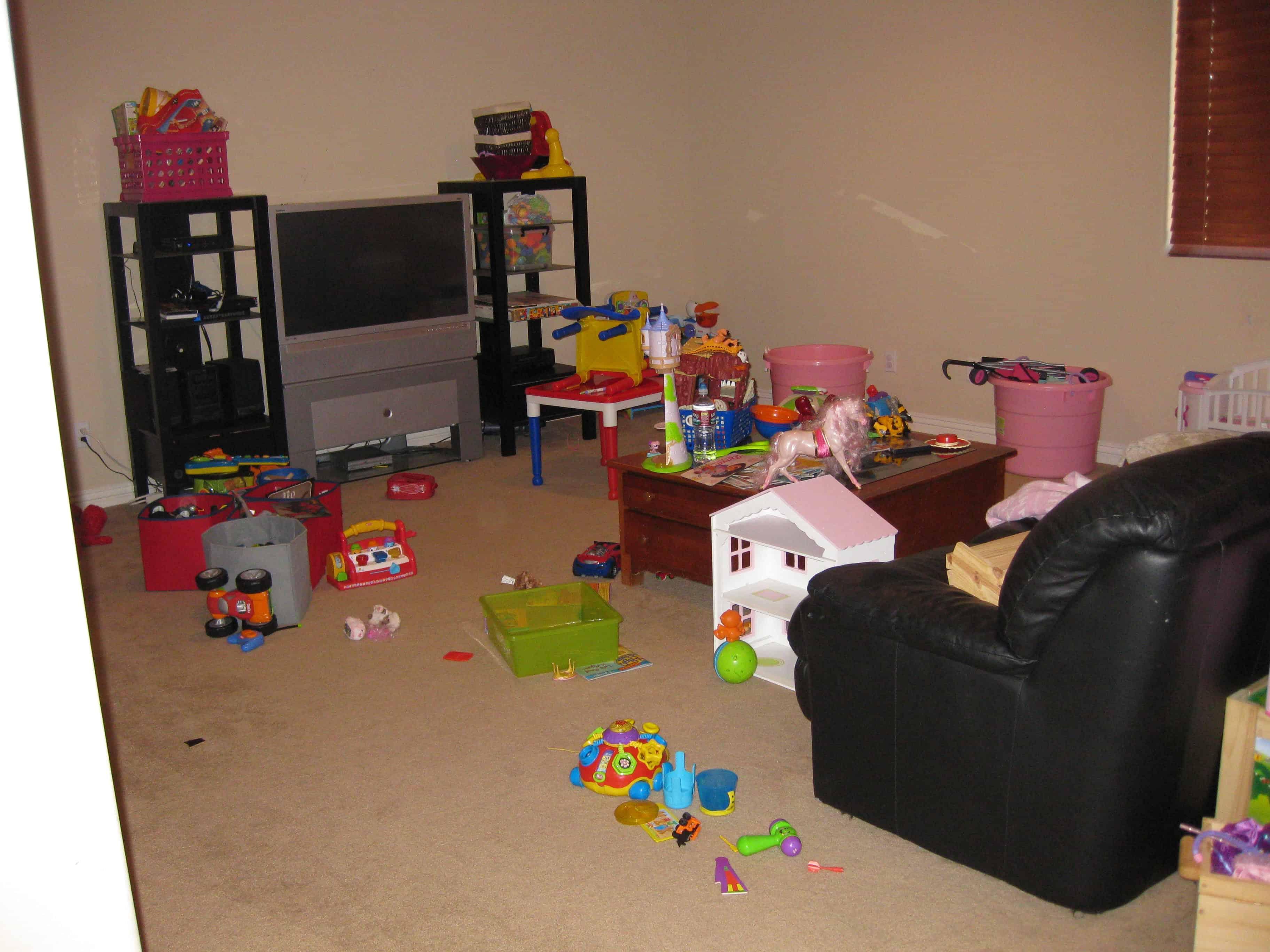 Unorganized Children's Playroom - Before